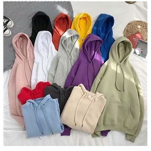 Women Autumn Solid Color Hoodies Couple Long Sleeve Hooded Sweatshirt Men Spring Casual Plus Size Fashion Loose Pullover Tops