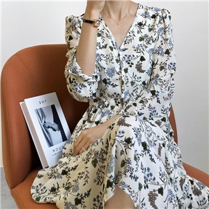 Women's retro floral French gentle style V-neck long sleeve mid-length dress