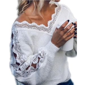 Women's solid color lace stitching V-neck loose fashion top
