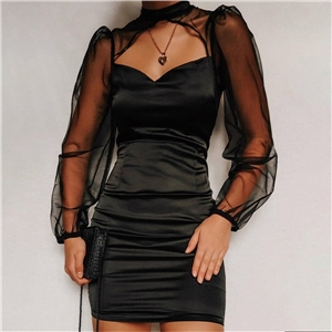 Women's mesh stitching see-through sleeves stretchy one-step dress