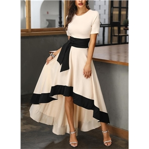 Women's color matching short-sleeved A-line asymmetric party elegant long dress
