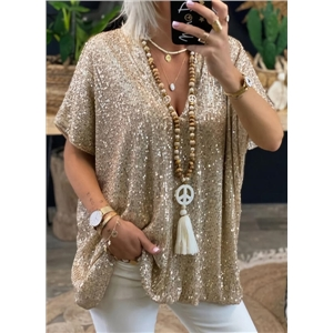Women's Elegant Party Loose Sequined V-neck Top T-shirt