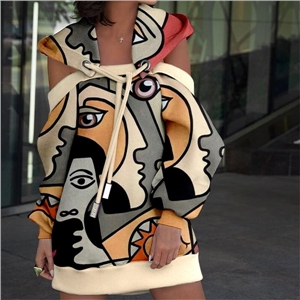 Women's printed off-the-shoulder hooded sweater dress