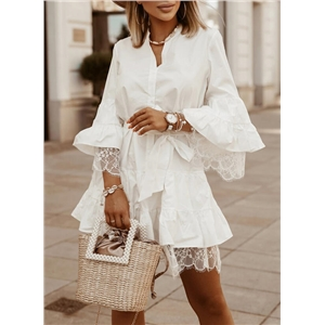 White lace stitching solid color long-sleeved/flared-sleeved A-line mid-length dress
