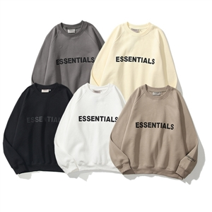 Street ESSENTIALS reflective three-dimensional letters men and women pullover round neck plus velvet sweater
