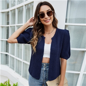 Women's solid color casual loose puff sleeve knitted cardigan