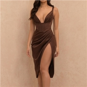 Women's sexy solid color deep V high slit suspender dress