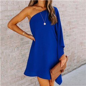 Women's solid color lotus leaf sleeve loose pullover oblique shoulder dress
