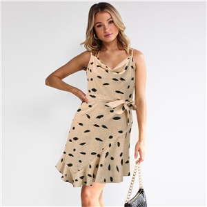 Women's Slim Fit Sexy V-neck Sling Print Irregular Ruffled Large Size Dress