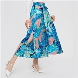Women's beach vacation print long floral a-line sexy skirt