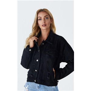 Women's jacket short slim slim black denim jacket