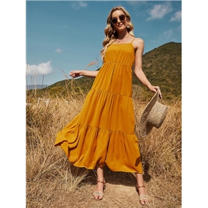 Women's casual sweet pure color adjustable strap cake A-line dress long skirt