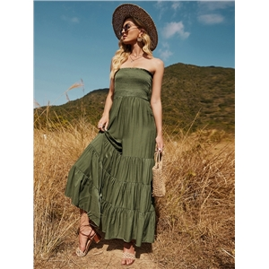 Women's loose-fitting sleeveless off-shoulder tight waist stitching solid color long flared jumpsuit