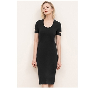 Women's dress solid color mid-length knitted stretch short-sleeved dress