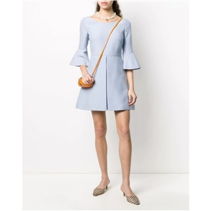 Ladies round neck flared sleeves solid color mid-length A-line sweet dress
