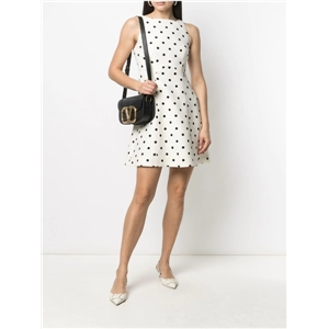 Ladies round neck sleeveless A-line lotus leaf hem mid-length sweet polka-dot dress