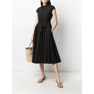 Women's bohemian style solid color cotton single-breasted lace-up over-the-knee long dress