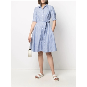Lapel single-breasted lace-up cotton striped mid-sleeve long large swing dress