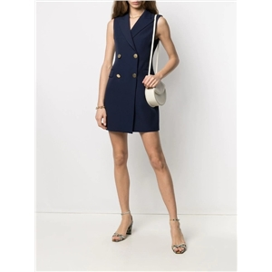 Double-breasted suit collar dress-type solid color slim-fit women's mid-length cardigan vest