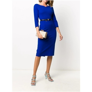 Solid color Seven points sleeves heart-shaped collar bag hips over the knee one-step skirt dress