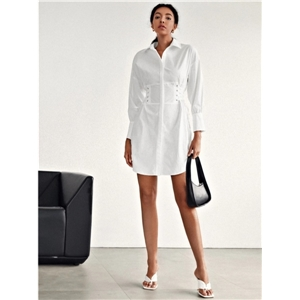 Cotton Raglan Long Sleeve Loose Straight Side Drawstring Slim Mid-length White Dress