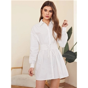 Female back folds front drawstring slim-fit college style solid color white mid-length dress