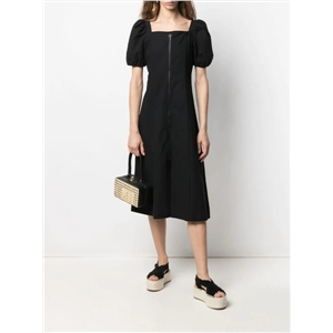 Women's Puff Sleeve Square Neck Front Zipper Over-the-knee Long Bohemian Dress