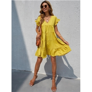 Bohemian style sweet V-neck raglan sleeves A-line solid color midi dress