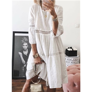 Plus size women's clothing lace stitching hollow embroidery three-quarter sleeve dress