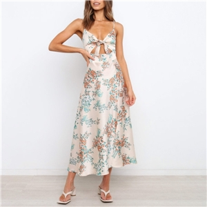 Women's Sweet Printed Chest Hollow Knotted Sling Dress