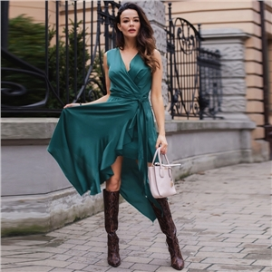 Elegant women's sexy V-neck imitation silk solid color sleeveless irregular dress