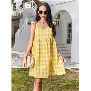 Cute Summer Clothes Small Fresh Plaid Sling Slim Fairy Dress