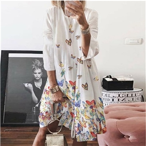 Summer clothes women's retro print round neck butterfly print dress