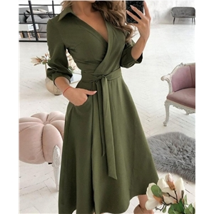Spring and summer women's fashion clothes long-sleeved V-neck solid color long dress
