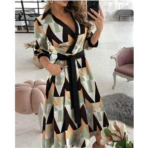 Spring and summer women's fashion clothes long-sleeved V-neck printed long dress