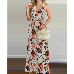 Summer sexy women's clothes sleeveless V-neck bohemian floral dress