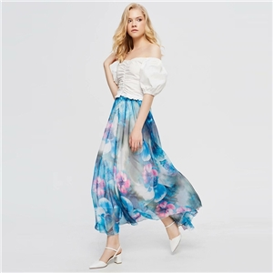 Plus size summer skirt bohemian chiffon print long a-line skirt beach holiday dress