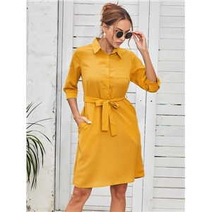 Women's clothing for summer fashion three-quarter sleeve belt pure color dress