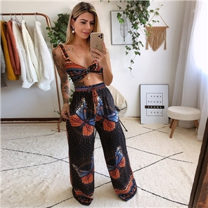 Summer clothes sexy beach sling bra top + straight trousers two-piece casual suit
