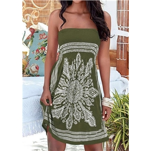 Sexy women's clothes wrapped chest tube top print sleeveless off-shoulder dress