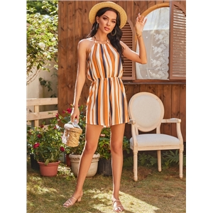 Summer sexy women's clothes color stitching strapless sleeveless backless casual jumpsuit