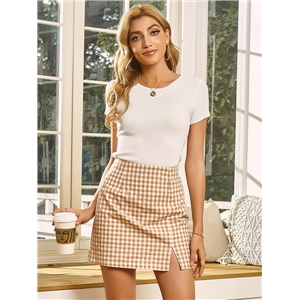 Cute summer clothes small fresh college style skirt hit color plaid high waist A-line skirt
