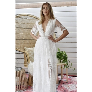 Summer sexy women's clothes long skirt mid-waist lace solid color white V-neck dress