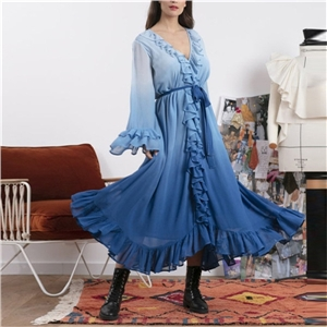 Summer clothes chiffon hit color long-sleeved dress high waist sexy v-neck blue big swing skirt