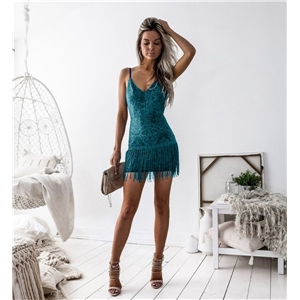 Sexy women's clothes V-neck blue short skirt mid-waist solid color suspender dress