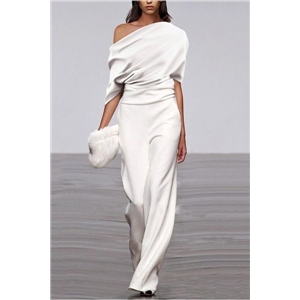 Spring and summer clothes jumpsuit trousers straight white short-sleeved chiffon casual pants