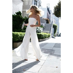 Clothing sexy mid-waist suspender loose jumpsuit white without belt chiffon casual pants