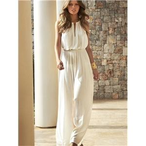 Summer clothes white loose high-waist casual trousers elastic waist slimming jumpsuit