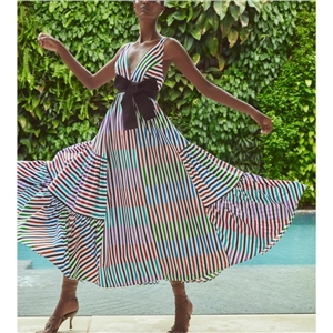 Women's fashion summer dresses striped print big hem dress