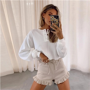 Clothes women's loose white long-sleeved pullover round neck cotton solid color base T-shirt